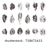 set with hand made ink stamp... | Shutterstock . vector #718671613