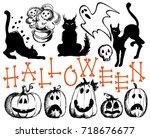 halloween set. happy halloween... | Shutterstock .eps vector #718676677