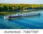ruse city port  bulgaria  ... | Shutterstock . vector #718677307