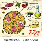 pizza recipe. the traditional... | Shutterstock .eps vector #718677703