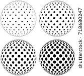 set of 3d globe ball  dots... | Shutterstock .eps vector #718680247