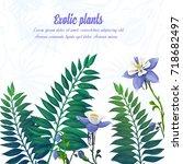 exotic flower. tropical plants. ... | Shutterstock .eps vector #718682497