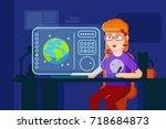 girl designer vector flat... | Shutterstock .eps vector #718684873