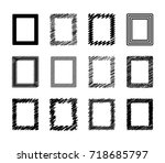 set of different drawn scribble ... | Shutterstock .eps vector #718685797