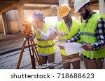portrait of construction... | Shutterstock . vector #718688623