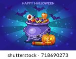cartoon pot with candy  set... | Shutterstock . vector #718690273