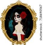 day of the dead woman portrait... | Shutterstock .eps vector #718690567
