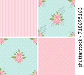 vintage set of seamless... | Shutterstock .eps vector #718695163