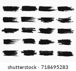 horizontal black ink scratches... | Shutterstock .eps vector #718695283