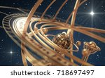 armillary sphere and stars on... | Shutterstock . vector #718697497