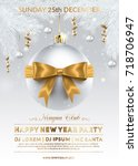 new year party poster design.... | Shutterstock .eps vector #718706947