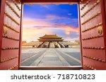 forbidden city in beijing china   Shutterstock . vector #718710823