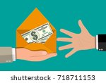 dollar cash in envelope in hand.... | Shutterstock .eps vector #718711153