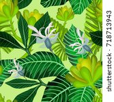 seamless pattern with tropical... | Shutterstock .eps vector #718713943