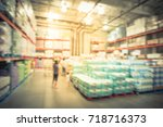 blur stack of paper product ... | Shutterstock . vector #718716373