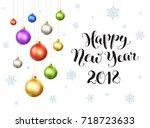 happy new year 2018 postcard... | Shutterstock .eps vector #718723633