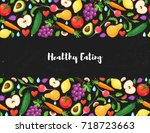 healthy lifestyle poster with... | Shutterstock .eps vector #718723663