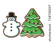glazed snowman and christmas... | Shutterstock .eps vector #718730347