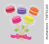 bouquet of macaroon on sticks... | Shutterstock .eps vector #718731163
