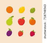 set of fruits   orange  lemon ...   Shutterstock .eps vector #718748563