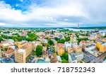 aerial view of riga from top of ... | Shutterstock . vector #718752343