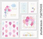 cute birthday cards for girls... | Shutterstock .eps vector #718755433