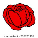 red rose isolated on white... | Shutterstock .eps vector #718761457