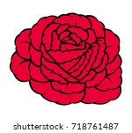 red rose isolated on white... | Shutterstock .eps vector #718761487