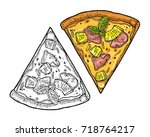 slice pizza hawaiian. top view. ... | Shutterstock .eps vector #718764217