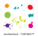 set of paint splatters.colorful ... | Shutterstock .eps vector #718768177