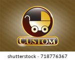 gold badge with baby cart icon ... | Shutterstock .eps vector #718776367
