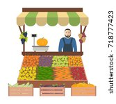 seller of vegetables and fruits ... | Shutterstock .eps vector #718777423