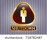 gold badge or emblem with...   Shutterstock .eps vector #718782487