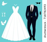 wedding card with the clothes... | Shutterstock .eps vector #718782493