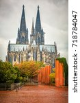 view on cologne cathedral at...   Shutterstock . vector #718784047