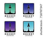 rocket launch logo template... | Shutterstock .eps vector #718787347