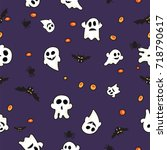 pattern bats  ghost and... | Shutterstock .eps vector #718790617