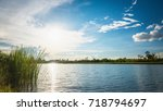 beautiful sunset landscape with ...   Shutterstock . vector #718794697