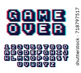 3d pixel video game 8 bit font. ... | Shutterstock .eps vector #718797517