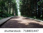 a woman walking in a dense... | Shutterstock . vector #718801447