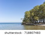 natural beach from phaselis... | Shutterstock . vector #718807483