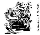 cement truck mixer rearing back ... | Shutterstock .eps vector #718813843