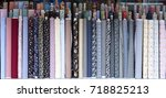 rolls of fabric and textiles in ... | Shutterstock . vector #718825213