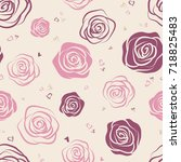 seamless pattern with pink and...   Shutterstock .eps vector #718825483