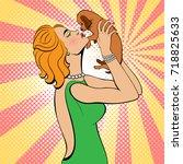 sexy blonde pop art woman... | Shutterstock .eps vector #718825633