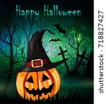 halloween spooky background | Shutterstock .eps vector #718827427