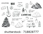 doodle set of camping equipment ... | Shutterstock . vector #718828777