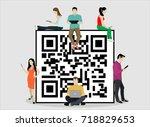 qr symbol concept vector... | Shutterstock .eps vector #718829653