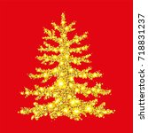 christmas tree from scattered... | Shutterstock .eps vector #718831237
