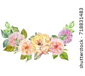 roses garland.watercolor | Shutterstock . vector #718831483